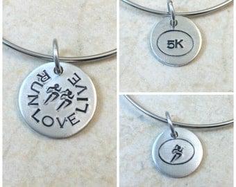 Running Jewelry, 5K Charm, 13.1 Charm, 26.2 Charm, Custom Running Bangle Bracelet, Gift for Runners, Running Partners, Running Race Gift