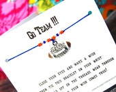 Go Team!!! - Wish Bracelet With Rhinestone Football Charm - Custom Made In Your Team Colors!!!