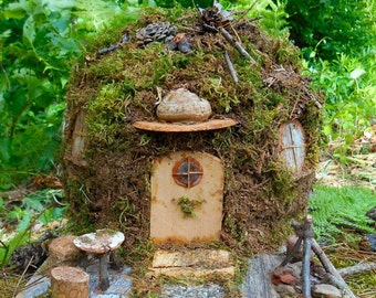 Fairy garden House, Mossy Forest Cottage, Enchanted woodland dwelling, Miniature Hobbit House handmade with all natural forest finds