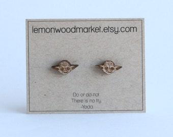 Yoda earrings - alder laser cut wood earrings - star wars earrings
