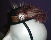 Steampunk Facinator Hat with Ostrich, Peacock, and Gears