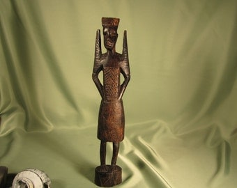 AFRICAN STATUE of MALE Warrior, African Male Warrior Carving ,Wood Carving of African Warriorr,Male African Warrior Carving, Young Male