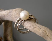 Pearl sterling silver stacking rings. White freshwater pearl stack ring. 9 mm pearl stackable ring.