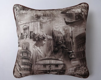 Travel inspire pillow cover. europien urban architectural printed,coffee  brown pillow, landscape pillow with  Brown Piping. 20 inches.