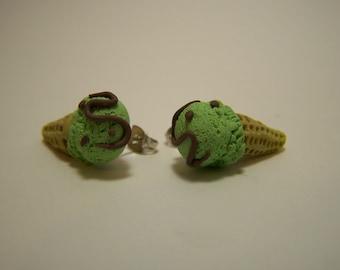 mint choco cream earrings