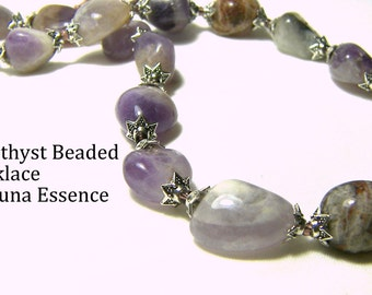 Amethyst Necklace Beaded Necklace Purple Gift Ideas Beaded Statement Necklace Holiday Gifts