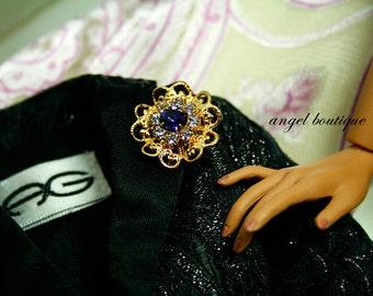 "Swarovski Purple & Lilac Crystal Magnetic Pin fits 16"" dolls"