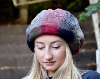 felt hat Rasta cap Handmade Nuno Felted hat felted beanie felt cap Rasta beanie hat fashion ooak hat Felt Hat for Women nunofelt hat