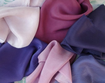 """Silk Fabric Pink Lavende Purple Violet Logwood Lac Naturally Dyed 6 Pieces Habotai Art Fabric 9"""" x 12"""" to 16"""" x 16"""" Natural Plant Dye"""