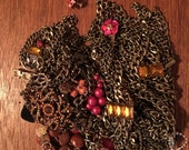 Repurpose salvage brown rhinestone chain earring lot destash harvest