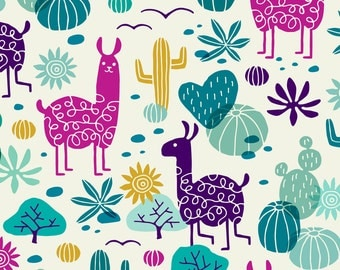 Llama Fabric - Llamas In The Desert By Heleen van den Thillart -Cactus Desert Llama Cotton Fabric By The Yard With Spoonflower