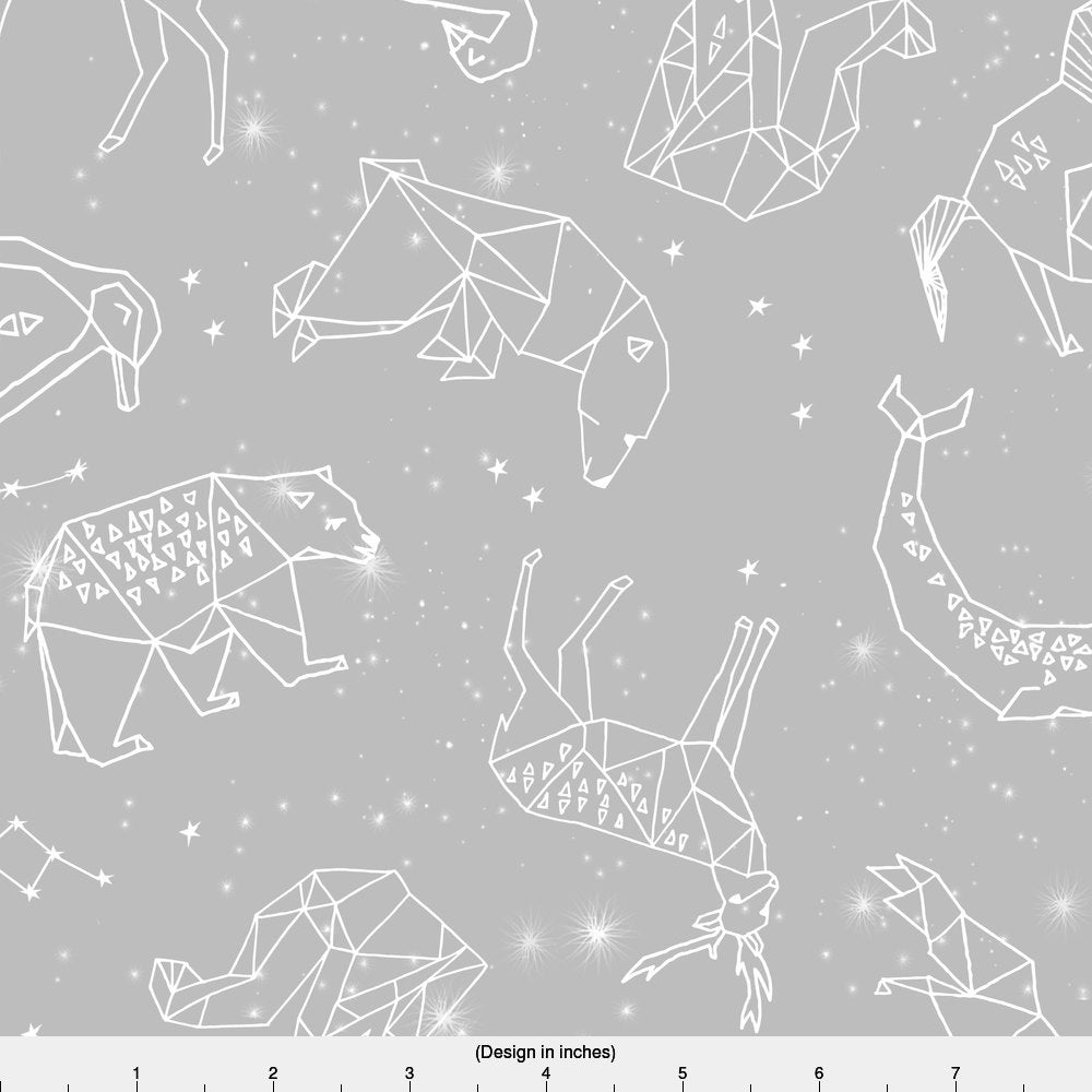 Constellation fabric grey animals geometric origami nursery for Constellation fleece fabric