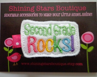 Felt Hair Clips - White Second Grade Rocks With Rainbow Colors Embroidered Boutique Felt Back To School Hair Clippie For Girls
