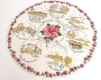 Vintage Florida handkerchief hankie 1940s Mid Century hibiscus round Miami Hialeah Ft. Lauderdale Everglades souvenir Floridiana kitsch