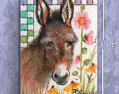 ACEO Original Donkey Painting FREE Shipping