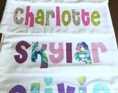 Personalized Pillowcase  - Standard Size, Custom Name and Fabrics - Name on Pillowcase cuff- boy girl birthday favor party slumber sleepover