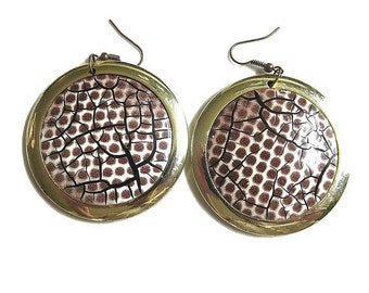 Vintage Retro Dangle Earrings Abstract Animal Print Style Large Discs