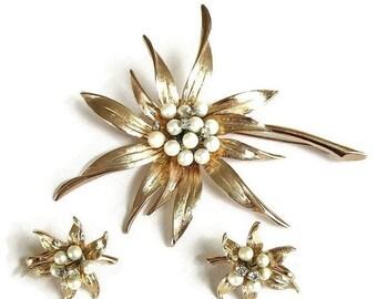 Large Vintage Faux Pearl & Rhinestone Spike Flower Brooch and Earrings Demi Parure Set