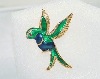 Vintage Songbird Figural Brooch Enamel Blue Green Gold Bird Pin