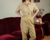 50% OFF SALE - Vintage 1960s Set - Charming Khaki Cotton Print 60s Blouse and Pants Set