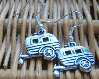 Camper Earrings, Tibetan Silver Earrings, Vintage Camper Earrings, Happy Camper Earrings