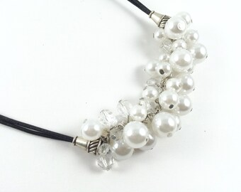 Pearls and Leather Necklace