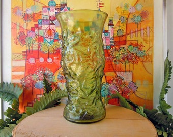Vintage 1970s Green Glass Vase Textured Glass Flower Vase