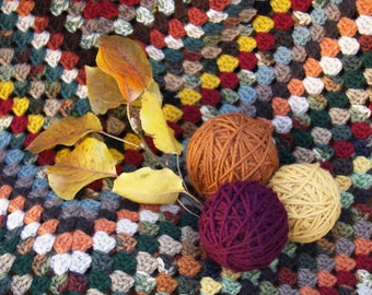 Autumn Granny Square Afghan, Personal Sized, Fall Leaves, Cabin, Up North, Crochet, Blanket, Multicolor, Traditional, Wedding, Ready-To-Ship