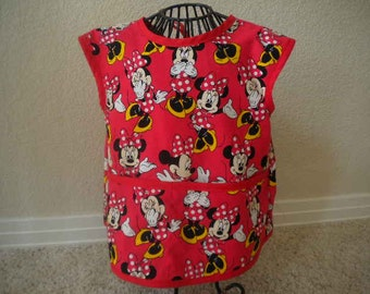 Toddler Minnie Mouse Art Smock or Apron With Red Bias trim. Size 3t-4t