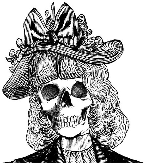 skeleton lady wearing hat skull lady printable art clipart png clip art image graphics digital download wall art printables day of the dead