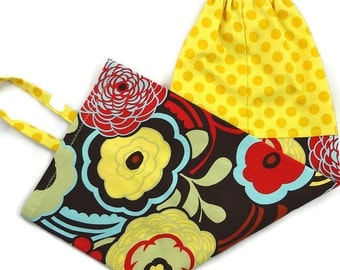Plastic bag holder, bold flower yellow dot, grocery bag dispenser kitchen bag storage bag home organizer brown yellow dot