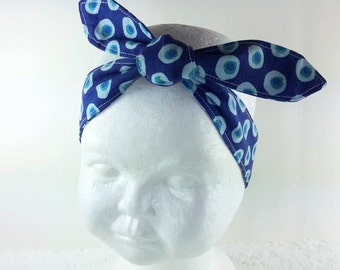 Navy blue aqua dots knotted hair wrap, pre-tied headscarf hair scarf headband newborn baby toddler girl women pin up retro photo prop
