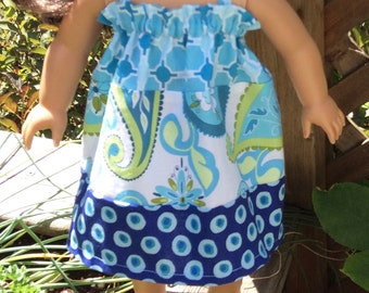 18 inch doll dress RTS, blue navy lime paisley dots, 18 inch doll clothes, 15 inch Waldorf doll dress, bitty babies twin girl dolls clothes