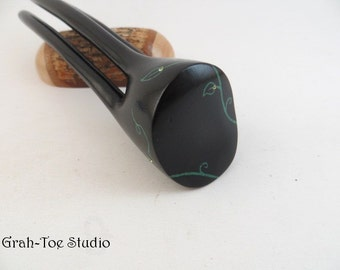 RESERVED Ebony Wood Avalon Tusk Hair Fork with Custom design inlay and crystals