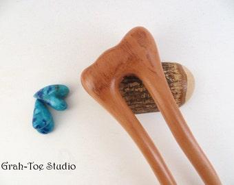 Hair Fork,Wood Hair Fork, Pear Wood, Hairfork Mermaids Tail Grahtoe Handmade,Hair Stick,Hairsticks, Hairforks,Woman gift,Man Bun, Wood Forks