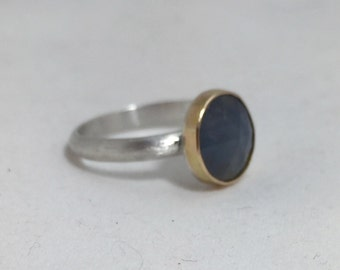 Rose Cut Blue Sapphire in 14k Gold Sterling Silver Modern Engagement Ring