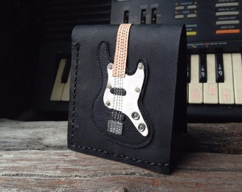 Hand Stitch Men Wallet Bass Guitar Colored Black