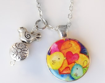 """Love Birds Changeable 1"""" Magnetic Pendant Necklace with Bird & Flower Charms and Organza Bag"""