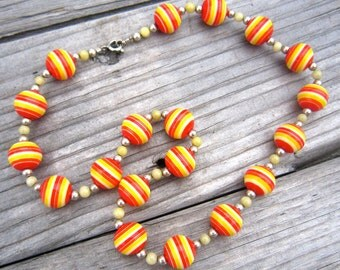 Red and Yellow Stripe Necklace
