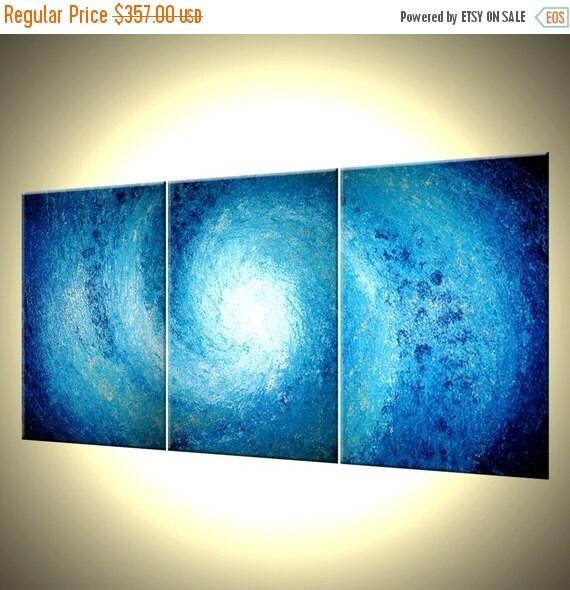 Original Painting, Abstract Art, Blue White Seascape Original Painting, Impasto Storm Hurricane, Fine Art By Lafferty - 30 x 72 - 22% Off