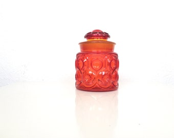 Amberina Moon and Star Glass Jar