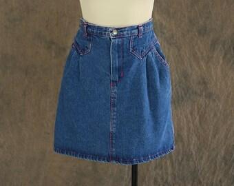vintage 80s Jean Skirt - 1980s Dark Denim Mini Skirt Sz XS