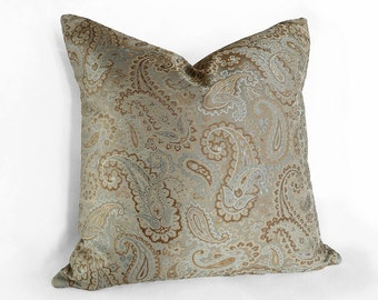 Aqua Pillow Cover, Paisley Pillow Covers, Blue Throw Pillows, Aqua Decorative Pillows, 18x18, 20x20, 22x22, Gold Cushion Cover