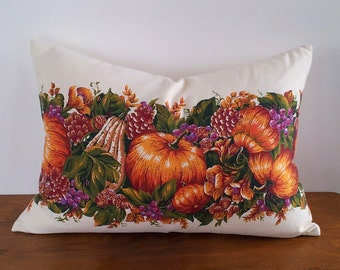 Thanksgiving Pillow, Fall Decorative Pillows, Harvest Pillows, Fall Throw Pillow, Lumbar Pillow, Pumpkin Cushion, Hostess Gift, 14x20