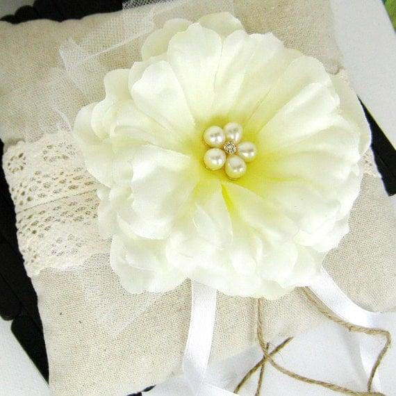 Wedding pillow, wedding ring pillow, lace linen ring bearer, flower ring pillow