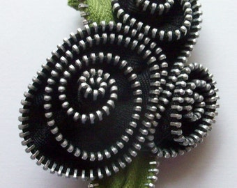Black Abstract Floral Brooch / Zipper Pin by ZipPinning 2950
