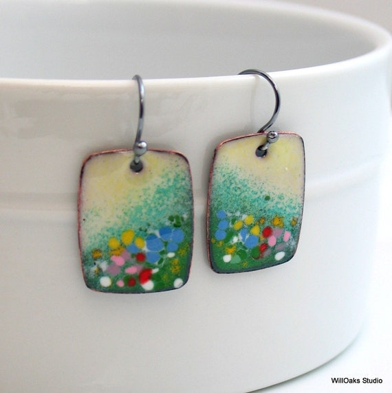 Artisan Original Dangle Earrings, Ready to Ship, One of a Kind Copper Enameled Colorful Earrings, Flower Fields in Pink and Lavender