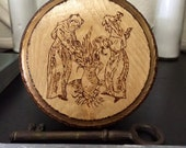 Medieval Witches Wall Hanging - Wood Burned Depiction Based On A 15th Century Woodcut - Altar - Witch House - Witchcraft - Home Decor