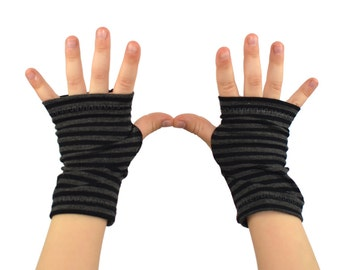 Toddler Arm Warmers in Hurricane Stripes - Black and Grey Stripes - Bamboo Fingerless Gloves
