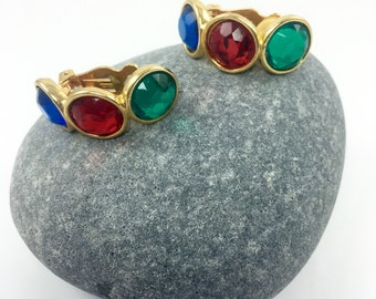 Jewel Tone Clip Earrings, Red Green Blue Cabochons, Half Circle Gold Tone Clip Earrings, 1960's Costume Jewelry